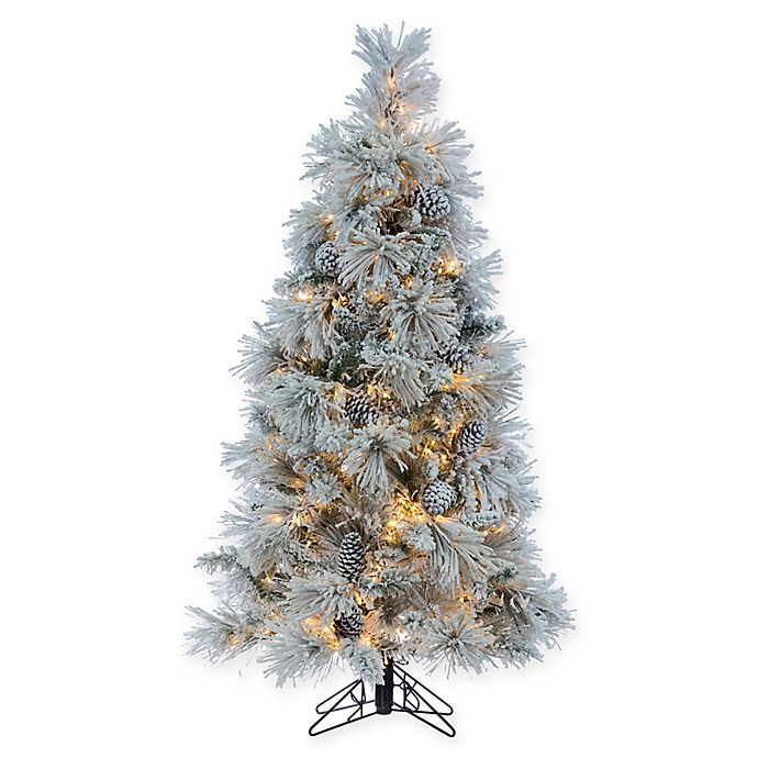 watch ce2b3 ccbf4 Sterling 5-Foot Pre-Lit Flocked Crystal White Pine Christmas ...