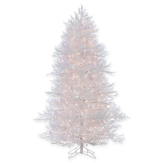 Pre Lit Christmas Twig Tree: Sterling 7-Foot Pre-Lit Flocked Twig Christmas Tree In