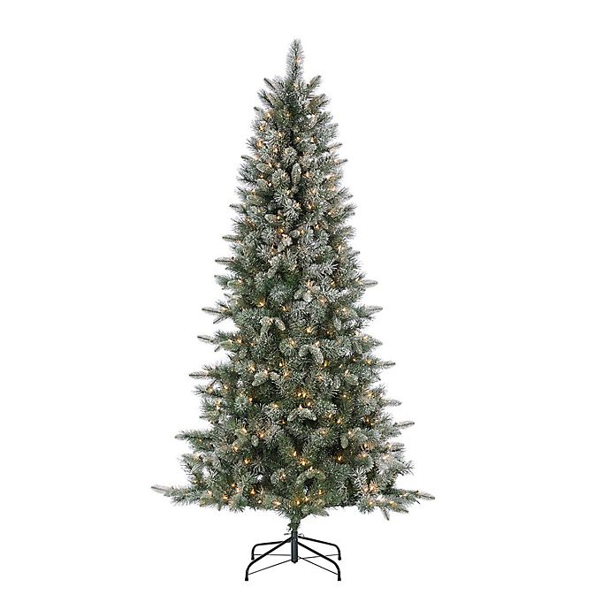 8 Ft Flocked Christmas Tree: 7-Foot Pre-Lit Lightly Flocked Arctic Pine Artificial