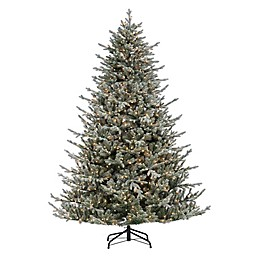 7.5-Foot Pre-Lit Flocked Olympia Fir Pine Christmas Tree