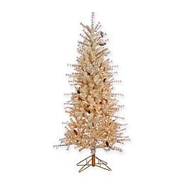 Gerson 6-Foot Pre-Lit Hard Needle Buttercream Artificial Christmas Tree
