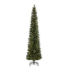 Sterling Hard Mixed Needle Cashmere Pre-Lit Pencil Christmas Tree with Clear Lights