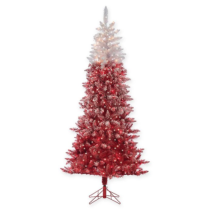 Flocked Ombre Pre-Lit Christmas Tree in Red with Clear Lights   Bed Bath & Beyond
