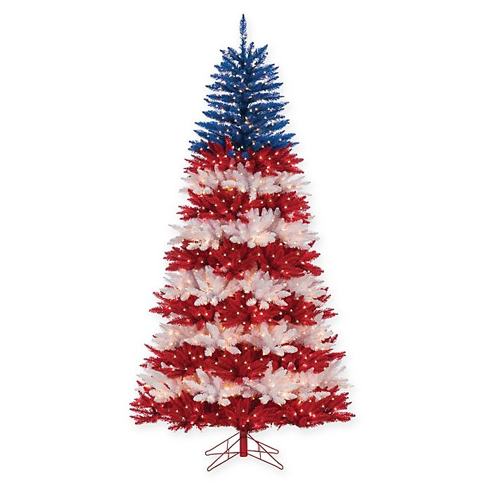 Pre Lit Patriotic American Christmas Tree With Clear Lights Bed