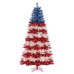 Pre-Lit Patriotic American Christmas Tree with Clear Lights