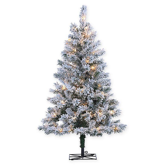 Pre Lit Flocked Artificial Christmas Trees: Pre-Lit Flocked Colorado Spruce Artificial Christmas Tree