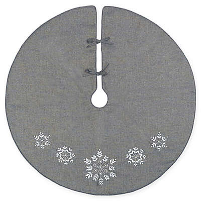 C&F Home Silver Snowflake Tree Skirt in Grey