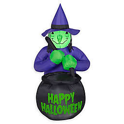 Inflatable Witch and Cauldron Outdoor Halloween Decoration