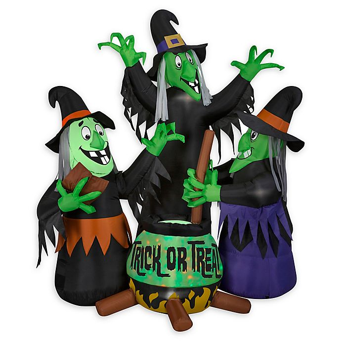 Inflatable Animated Fire N Ice 3 Witches Cauldron With Sound Outdoor Halloween Decoration Bed Bath Beyond