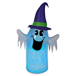 Inflatable Clear Ombre Kaleidoscope Ghost with Witch's Hat Outdoor Halloween Decoration