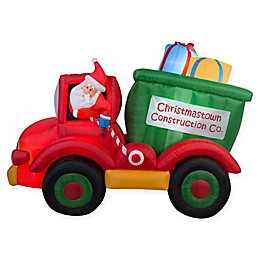 72-Inch Inflatable Christmas Present Truck Yard Decor