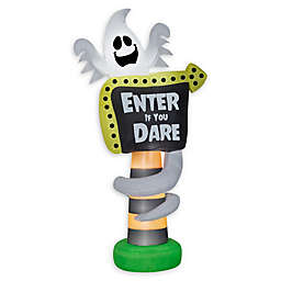Inflatable Ghost Trick-or-Treat Sign 8-Foot Outdoor Halloween Decoration