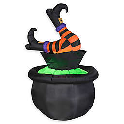 Animated Inflatable Witch's Legs in the Cauldron Outdoor Halloween Decoration