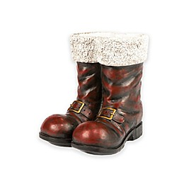 """Gerson 16"""" Resin Santa Boots Holiday Decoration in Red"""