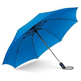UnbelievaBrella™ Reverse Compact Umbrella in Black/Blue
