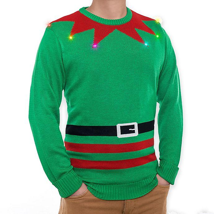 Alternate image 1 for Mr. Christmas Light Up Elf Sweater in Green