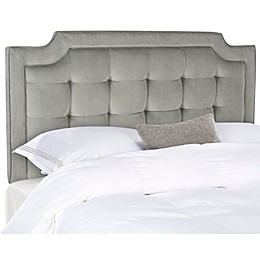 Sapphire Tufted Velvet Queen Headboard in Pewter