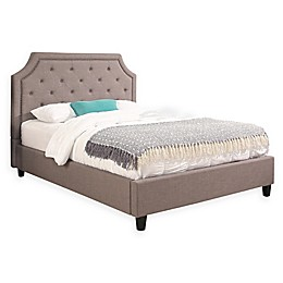 Abbyson Living Aby King Linen Upholstered Platform Bed in Grey