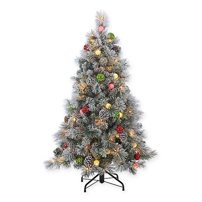 8 Ft Flocked Christmas Tree: Sterling 4.5-Foot Pre-Lit Flocked Hard Needle Pine