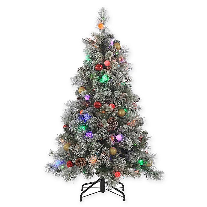 Multi Color Pre Lit Christmas Trees: Sterling 4.5-Foot Pre-Lit Multi-Color Flocked Hard Needle