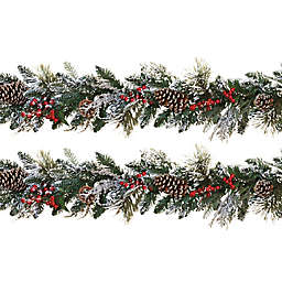 Gerson Snowy Holiday Garland (Set of 2)