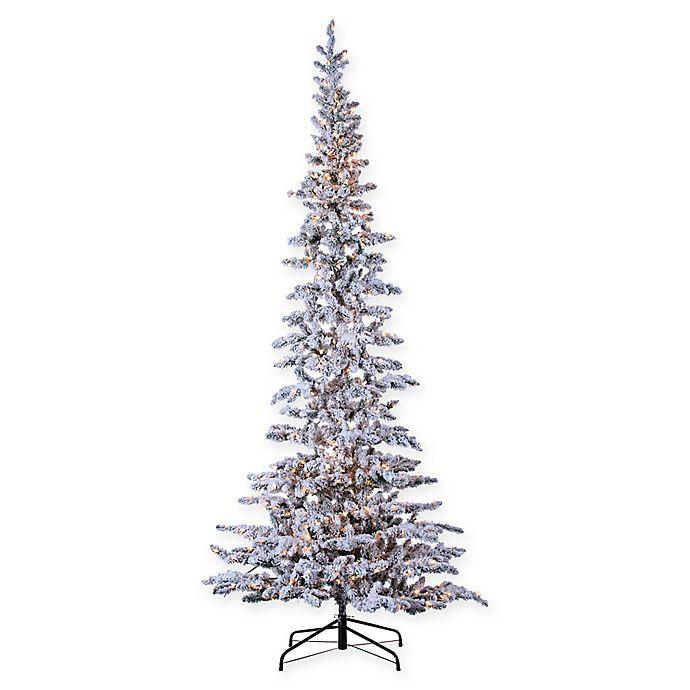 premium selection 60008 4888f Sterling Pre-Lit Narrow Flocked Austin Pine Christmas Tree ...