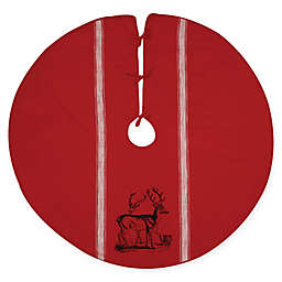 C&F Home Stag Feed Sack Tree Skirt in Red