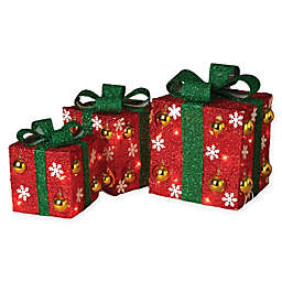 Gerson 3-Piece Assorted Electric Red Gift Boxes