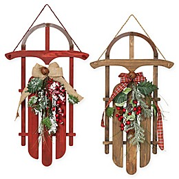 Gerson Wood Holiday Sleighs (Set of 2)
