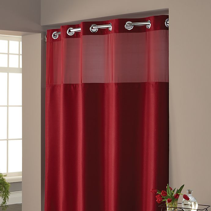 Hookless 174 Waffle Fabric Shower Curtain And Liner Set In