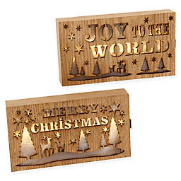 Gerson LED Wood Holiday Signs in Light Brown (Set of 2)