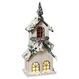 Gerson Lighted White Wood Church