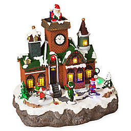 Gerson Lighted Holiday Village with Moving Figurines