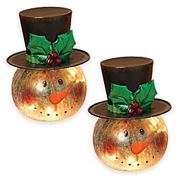 Gerson Electric Lighted Crackle Glass Snowmen (Set of 2)