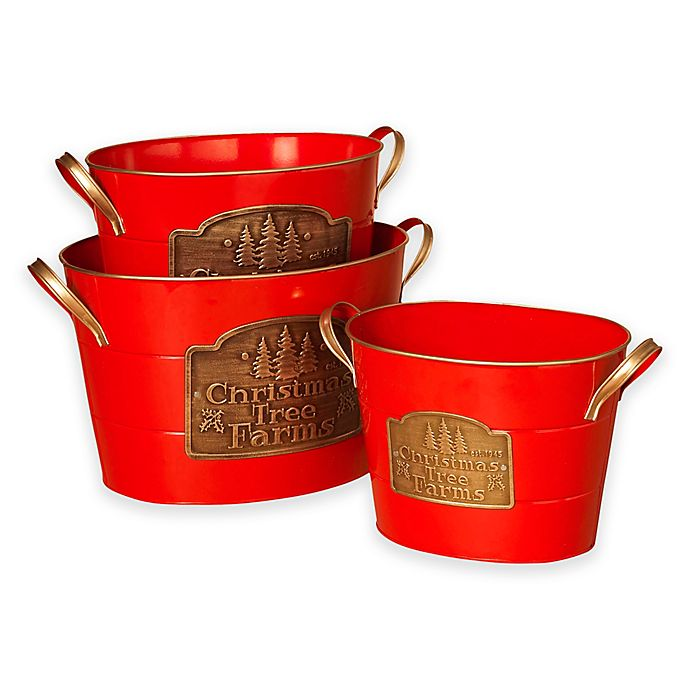 Alternate image 1 for Gerson Red Christmas Buckets (Set of 3)