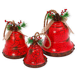 Gerson Galvanized Metal Nested Holiday Bells in Red (Set of 3)