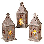 Gerson Metal Winter Lanterns (Set of 3)