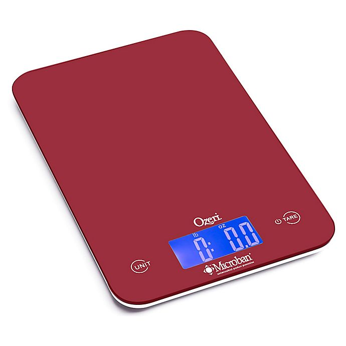 Alternate image 1 for Ozeri® Touch II Digital Kitchen Scale with Microban Antimicrobial Protection in Red