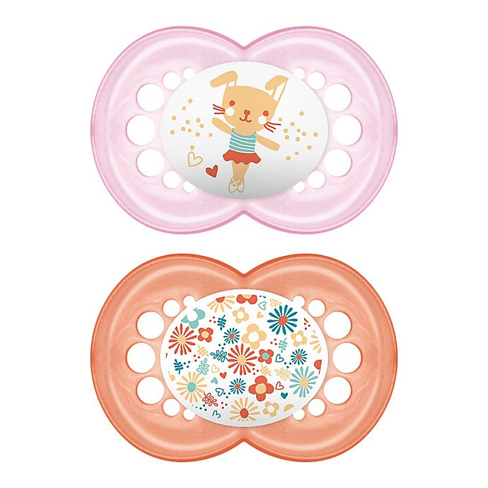 Alternate image 1 for MAM Pearl Ages 6 Months and Up Pacifier in Pink/Purple (2-Pack)
