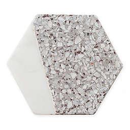 Thirstystone® Hexagon Coasters in White Marble/Grey Terrazzo (Set of 4)