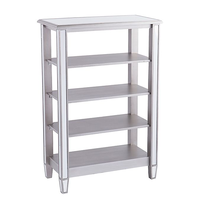 Alternate image 1 for Southern Enterprises Wedlyn Mirrored 4-Tier Bookcase in Matte Silver
