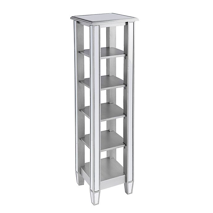 Alternate image 1 for Southern Enterprises Wedlyn Mirrored 5-Tier Bookcase in Matte Silver