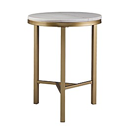 Southern Enterprises Garza Marble Side Table in Champagne/Ivory