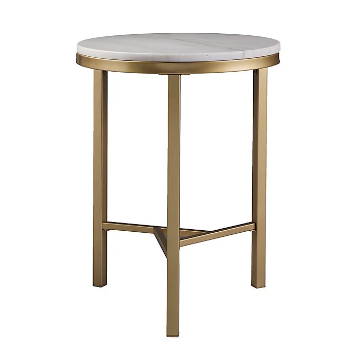 Alternate image 1 for Southern Enterprises Garza Marble Side Table in Champagne/Ivory