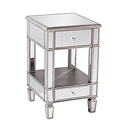 Southern Enterprises Wedlyn Mirrored Side Table in Matte Silver