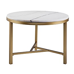 Southern Enterprises Garza Marble Accent Table in Champagne/Ivory