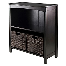 Winsome Trading Terrace 2-Tier Shelf with Woven Baskets in Espresso