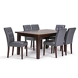 Simpli Home Andover 7-Piece Dining Set in Dark Java Brown/Stone Grey