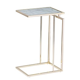 Holly & Martin® Colbi Glass Accent Table in Champagne/White