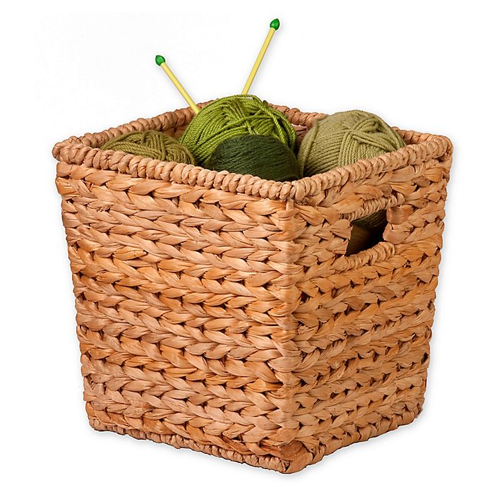 Alternate image 1 for Honey-Can-Do® Woven Hyacinth Square Basket in Natural/Brown